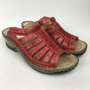JOSEF SEIBEL Sz 6/37 Red Slide Strappy Sandals